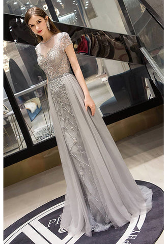 Image of A-Line Pageant Dresses Brilliant Rhinestones Embellished Scoop Neckline with Tailing Tulle - 1