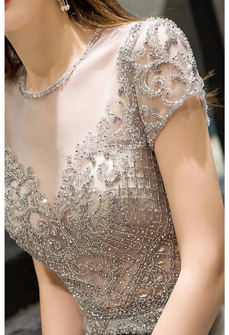 Image of A-Line Pageant Dresses Brilliant Rhinestones Embellished Scoop Neckline with Tailing Tulle - 5