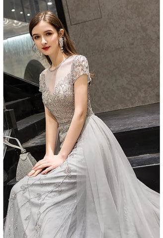 Image of A-Line Pageant Dresses Brilliant Rhinestones Embellished Scoop Neckline with Tailing Tulle - 4
