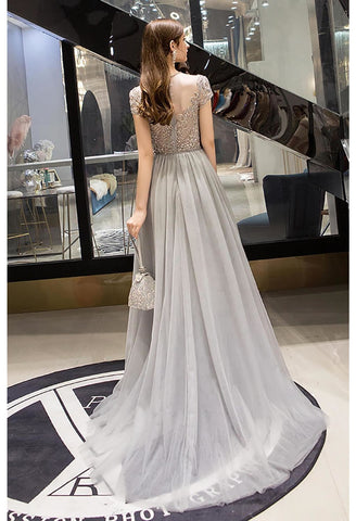 Image of A-Line Pageant Dresses Brilliant Rhinestones Embellished Scoop Neckline with Tailing Tulle - 2