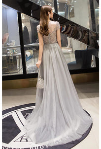 A-Line Pageant Dresses Brilliant Rhinestones Embellished Scoop Neckline with Tailing Tulle - 2