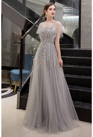 Image of A-Line Pageant Dresses Brilliant Rhinestones Embellished Sheer Neckline - 4