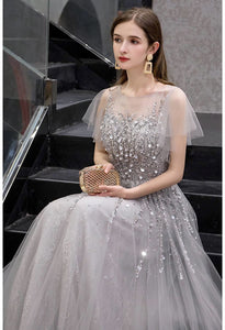 A-Line Pageant Dresses Brilliant Rhinestones Embellished Sheer Neckline - 5
