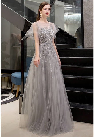 Image of A-Line Pageant Dresses Brilliant Rhinestones Embellished Sheer Neckline - 1