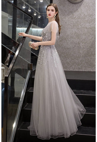 Image of A-Line Pageant Dresses Brilliant Rhinestones Embellished Sheer Neckline - 3