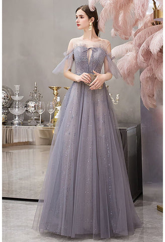Image of A-Line Pageant Dresses Glamorous Sheer Neckline with Rhinestones Embellished Waistband - 3