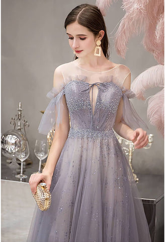 Image of A-Line Pageant Dresses Glamorous Sheer Neckline with Rhinestones Embellished Waistband - 4