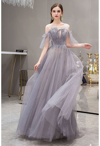 Image of A-Line Pageant Dresses Glamorous Sheer Neckline with Rhinestones Embellished Waistband - 1