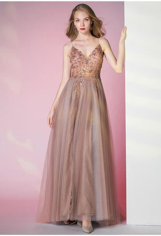 Image of A-Line Pageant Dresses Glamorous Spaphetti Straps Slit - 5