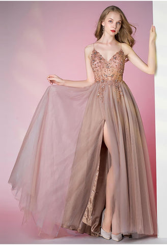 Image of A-Line Pageant Dresses Glamorous Spaphetti Straps Slit - 1