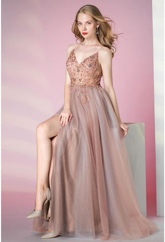 Image of A-Line Pageant Dresses Glamorous Spaphetti Straps Slit - 3