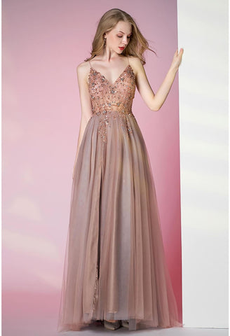 Image of A-Line Pageant Dresses Glamorous Spaphetti Straps Slit - 2