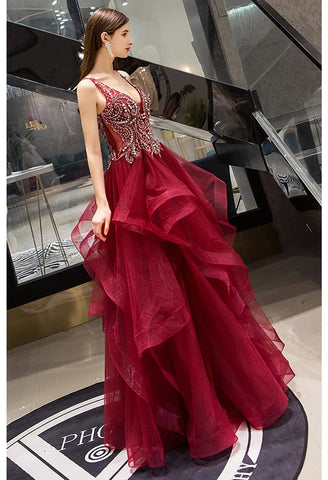 Image of A-Line Pageant Dresses Glamorous Tiered Ruffle with Rhinestones Embellished - 2