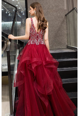 Image of A-Line Pageant Dresses Glamorous Tiered Ruffle with Rhinestones Embellished - 3