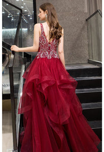 A-Line Pageant Dresses Glamorous Tiered Ruffle with Rhinestones Embellished - 3