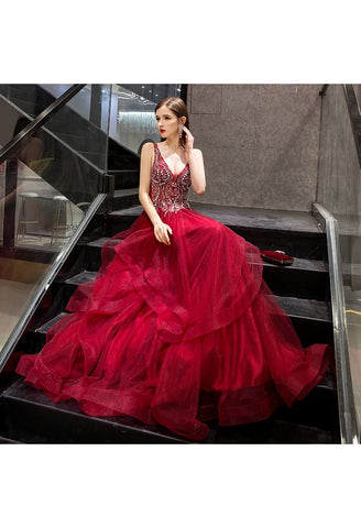 Image of A-Line Pageant Dresses Glamorous Tiered Ruffle with Rhinestones Embellished - 4