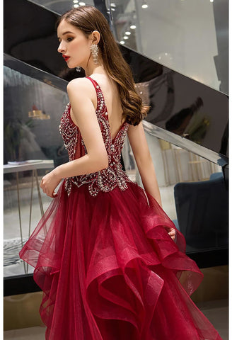 Image of A-Line Pageant Dresses Glamorous Tiered Ruffle with Rhinestones Embellished - 6