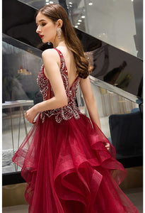 A-Line Pageant Dresses Glamorous Tiered Ruffle with Rhinestones Embellished - 6