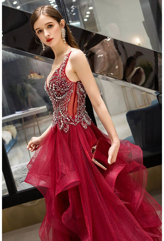 Image of A-Line Pageant Dresses Glamorous Tiered Ruffle with Rhinestones Embellished - 5