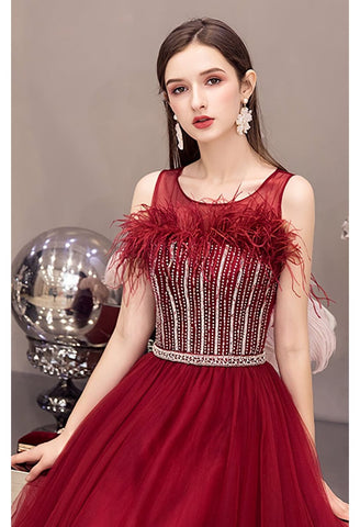 Image of A-Line Pageant Dresses Junoesque Feather Beading - 5