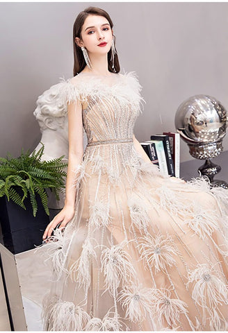 Image of A-Line Pageant Dresses Luxury Tassels Rhinestones Beading Embellished - 7