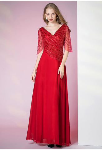 Image of A-Line Pageant Dresses Shimmering Beading Sequins Half Sleeves - 3