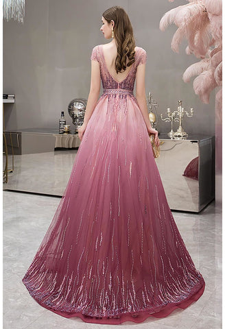 Image of A-Line Party Dresses Brilliant Rhinestones Embellished with Gradient Tulle - 2