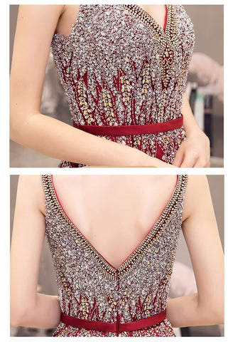 Image of A-line Party Dresses Gorgeous Rhinestones Embellished Satin - 7