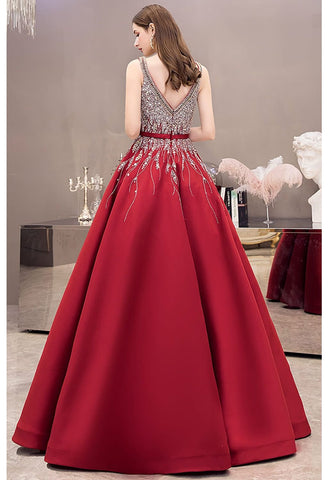 Image of A-line Party Dresses Gorgeous Rhinestones Embellished Satin - 3