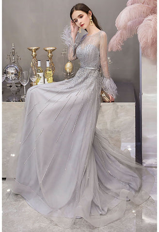 Image of A-Line Party Dresses Junoesque Rhinestones Embellished Feather Sleeves - 7