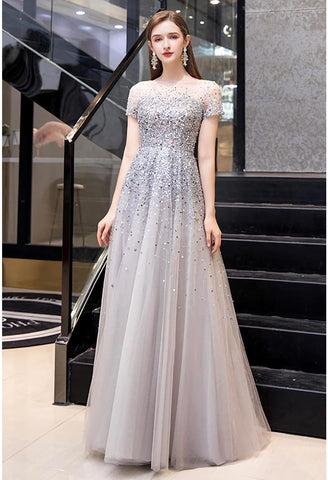 Image of A-Line Prom Dresses Brilliant Sequins - 7