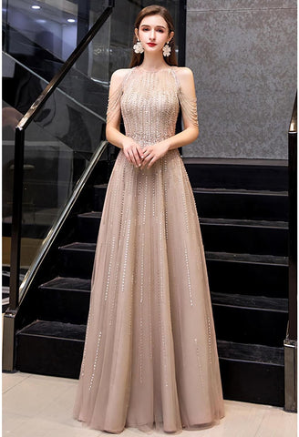 Image of A-Line Prom Dresses Chic Beading Sleeves Halter Neckline - 1