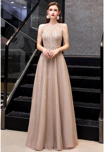 A-Line Prom Dresses Chic Beading Sleeves Halter Neckline - 1