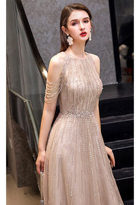 A-Line Prom Dresses Chic Beading Sleeves Halter Neckline - 7