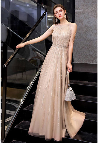 Image of A-Line Prom Dresses Chic Beading Sleeves Halter Neckline - 4