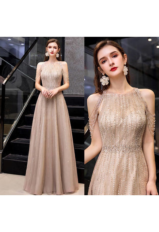 Image of A-Line Prom Dresses Chic Beading Sleeves Halter Neckline - 8
