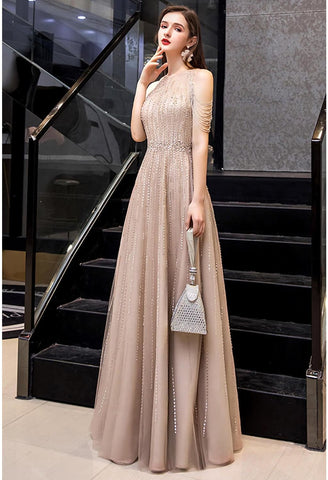 Image of A-Line Prom Dresses Chic Beading Sleeves Halter Neckline - 5