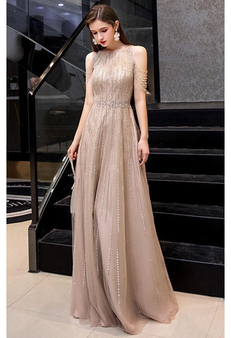 Image of A-Line Prom Dresses Chic Beading Sleeves Halter Neckline - 6