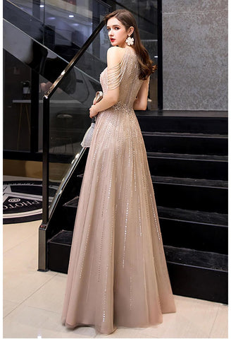 Image of A-Line Prom Dresses Chic Beading Sleeves Halter Neckline - 2