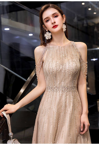 Image of A-Line Prom Dresses Chic Beading Sleeves Halter Neckline - 3