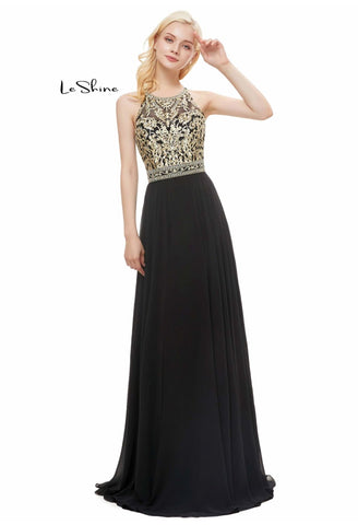Image of A-Line Prom Dresses Elegant Halter Neckline Embroidery with Tulle Hemline - 4