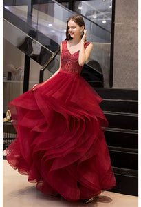 A-Line Prom Dresses Exquisite Lace Embroidered Tops with Tiered Ruffles Burgundy - 3