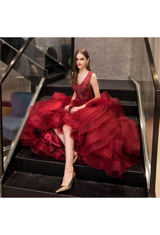 Image of A-Line Prom Dresses Exquisite Lace Embroidered Tops with Tiered Ruffles Burgundy - 5