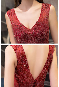 A-Line Prom Dresses Exquisite Lace Embroidered Tops with Tiered Ruffles Burgundy - 6