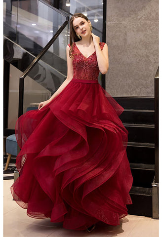 Image of A-Line Prom Dresses Exquisite Lace Embroidered Tops with Tiered Ruffles Burgundy - 1