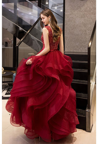 Image of A-Line Prom Dresses Exquisite Lace Embroidered Tops with Tiered Ruffles Burgundy - 2