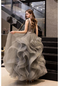 A-Line Prom Dresses Exquisite Lace Embroidered Tops with Tiered Ruffles Gray - 2