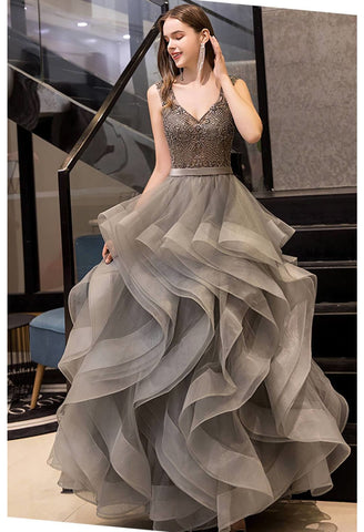 Image of A-Line Prom Dresses Exquisite Lace Embroidered Tops with Tiered Ruffles Gray - 1