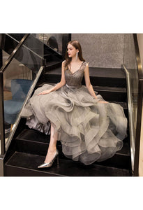 A-Line Prom Dresses Exquisite Lace Embroidered Tops with Tiered Ruffles Gray - 3