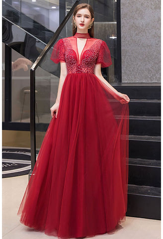 Image of A-line Prom Dresses Glamorous High Neck - 7